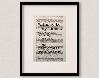 """Dracula quote print - Housewarming gift - New home decor - Welcome sign - """"Welcome to my house. Come freely. Go safely..."""""""