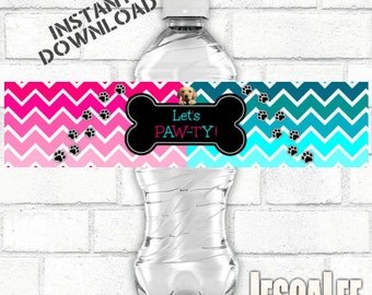 Printable Pawty Labels INSTANT DOWNLOAD Matching Printable Water Bottle Labels Water Bottle Wraps Pink Teal Puppy Pawty Dog Birthday Party
