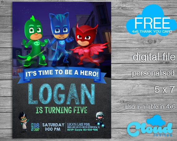 PJ Masks Pj Mask Invitation Pj Mask Birthday Invitation Pj - Pj masks invitation template free
