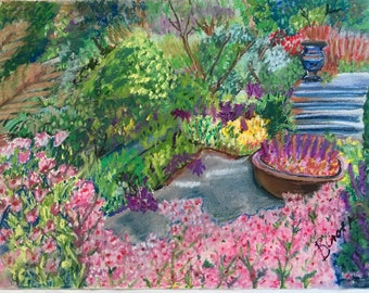 Giclee Print From Original Pastel-Fantasy Garden 1-Neo Impressionism-Abstract Landscape
