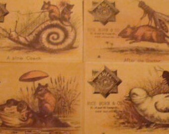 4 Vintage Fantasy Advertising Cards (Rice Born & CO.)