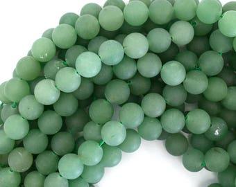 "12mm matte green aventurine round beads 15"" strand 39212"
