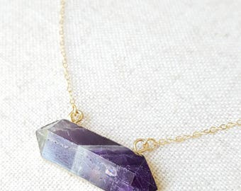 Amethyst Bar Necklace - Gemstone Necklace - Amethyst Pendant - Gemstone Jewelry - Mother's Day Gift- For Mom