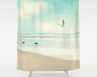 "Ocean Shower Curtain, beach, aqua home decor, turquoise,pastel,nautical decor,seagulls,seashore, ""away we go"""