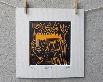 BB Girl, lino print, girl illustration, square print, mounted print, yellow, dark blue,