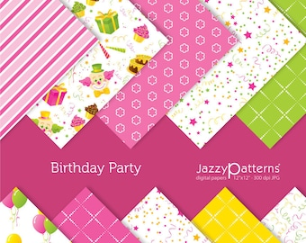 Birthday Party digital paper pack DP002 instant download