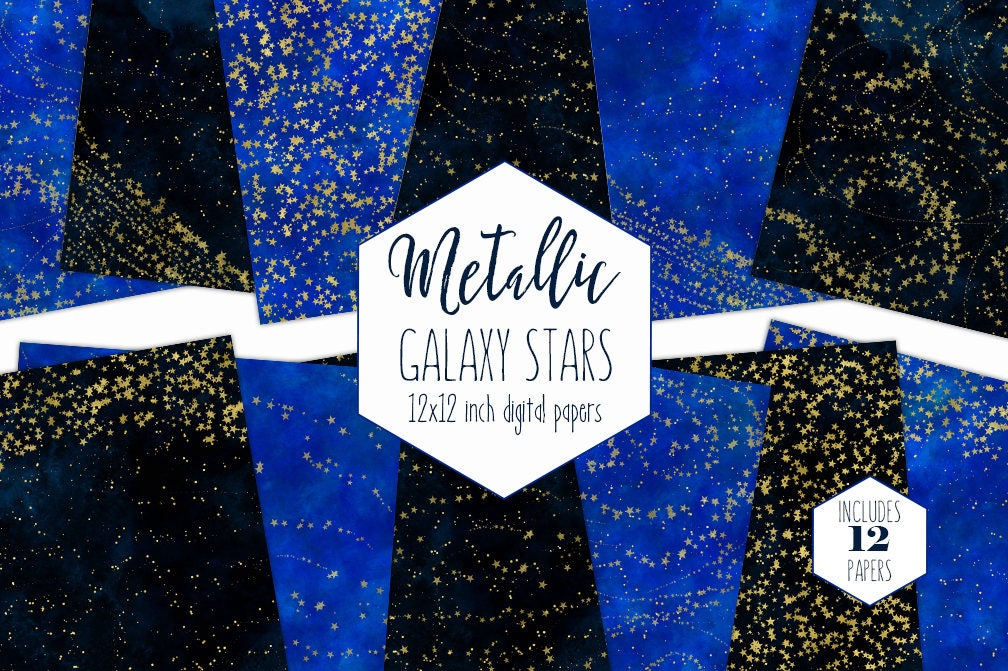 Gold Galaxy Stars Digital Paper Pack Navy Blue Watercolor Celestial