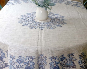 """Vintage Austrian Tablecloth, Round Tablecloth, Austrian Folk Art Tablecloth, Blue and White, Woven  Reversible Tablecloth, 66"""" Round"""