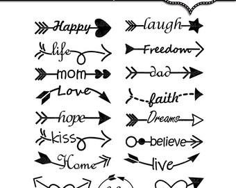 Arrows words clipart. Arrow words clip art. 17 digital arrows with words. Love arrows clip art. Printable arrows. Various arrows, love, life