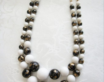 Vintage Two Strand Chunky Lucite Necklace / White / Black&Gold / Gold Tone / Japan / Women / Holiday / Christmas / Gift / Mom / Collectible