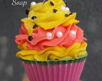 Passion fruit cupcake  - soap treats, vegan soap, gift, holiday gift, stocking stuffer, Christmas gifts