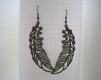 Antique Brass Leaf Earring