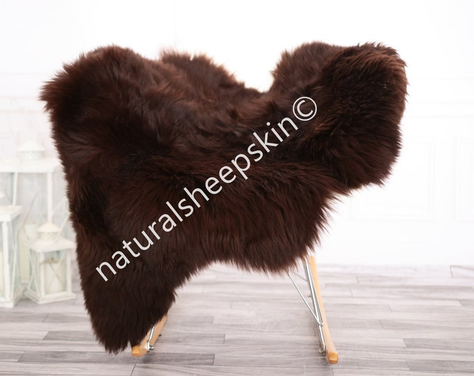 Sheepskin Rug | Real Sheepskin Rug | Shaggy Rug | Chair Cover | Sheepskin Throw | Brown Sheepskin | Home Decor | #febher67