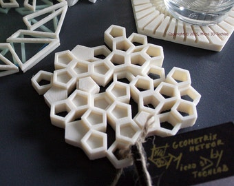 Almost Beehive - 3D Printed Coasters, Modern Tableware, Tech-Savvy Gifts