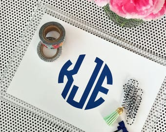 Personalized acrylic tray monogram lucite catchall vanity desk jewelry makeup graduation gift