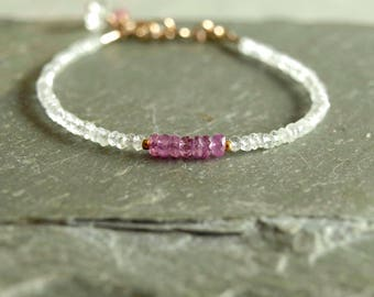 Pink Purple Sapphire bracelet, light morganite, 14K gold, natural purple sapphire, magenta lilac violet gemstone, beautiful gift