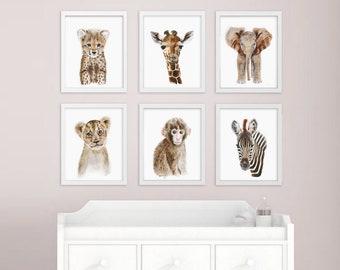 African Baby Animal, Nursery Print Set, Safari Nursery Art Prints, Animal Art, Baby Elephant, Giraffe, Monkey, Cheetah, Lion, Zebra