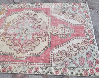 Vintage Bohemian Multi Colored Decorative Oushak Rug, Oushak Saloon Rugs , Handmade Old Turkish Wool Rug, 4'5x7'3  Vintage Rugs, Oushak Rug