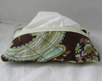 Paisley Quilted Tissue Holder Pocket Size Brown Sage Green
