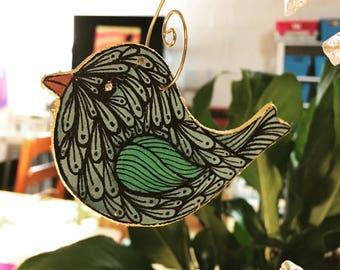 Handpainted bird ornament