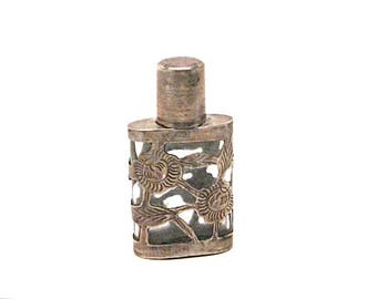Vintage Sterling Silver and Glass Perfume Bottle, Sterling Overlay, Miniature