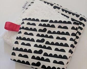 Mini Lovey. Minky Lovey. Minky Blanket. Monochrome Blanket. Black and White Blanket. Minky Baby Blanket. Gender Neutral Blanket.