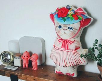Cat cushion - 'RUMI in a rose hat'