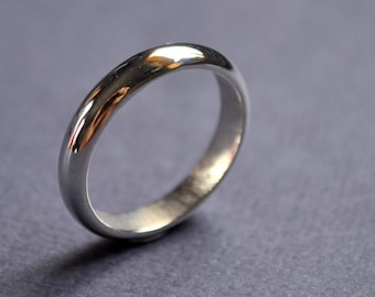 Men's High Shine 4mm Sterling Silver Wedding Band. Gloss. Handmade. Custom Size. Australia. Epheriell.