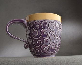 Curly Mug Ready To Ship Mottled Purple and Mocha Slip Trailed Mug by Symmetrical Pottery