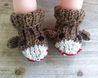 Sock monkey slippers,monkey baby shower,sarafi jungle monkey,sock monkey birthday,sock monkey clothes,newborn gift,monkey baby