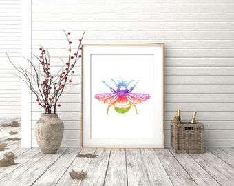Bee Print - Watercolor Bee Print - Bee Art - Bee Watercolor Art - Bee Wall Art - Bumble Bee Art Print - Bee Decor - Watercolor Prints