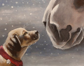 "SALE Painted Portrait of Jake and Clyde' Holiday Size 6""x 6"""