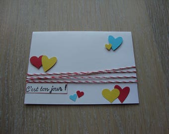 "Card ""It's your day"" embossed hearts"
