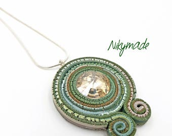 Polymer clay jewelry, hand made pendant, handmade pendant, decorative necklace