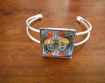 Butterfly Glass Bracelet-  Butterfly  artwork by Candace Lee Made in Hawaii