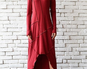 SALE Red Loose Dress/Asymmetric Oversize Tunic/Plus Size Red Dress/Long Sleeve Dress/Red Maxi Dress/Polo Dress/Long Casual Dress/Everyday To
