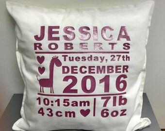 Baby Cushion - Personalised - New Baby Cushion - New Baby Girl Cushion - New Baby Boy Cushion -