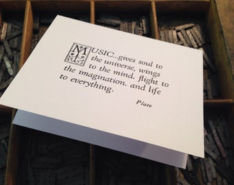"""Letterpress Note Cards """"Music Quote"""" - Set of 10 cards with matching envelopes"""