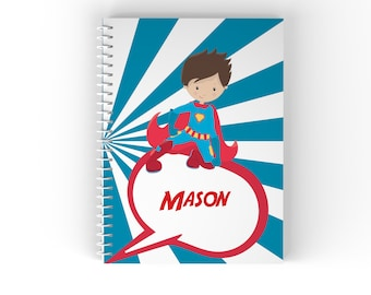Superhero Personalized Notebook - Superhero Boy Red Cape Blue Sun Ray with Name, Customized Spiral Notebook Back to School