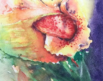 Yellow Flower - Original Watercolor Painting