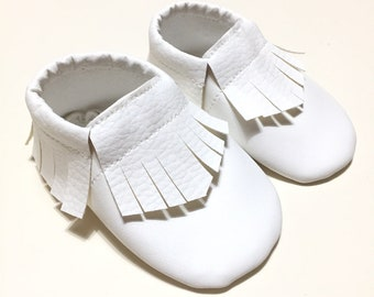 White leather loafers for infants and children