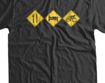 Eat Sleep Cycle V1 BICYCLE road sign Bike Bicycle Screen Printed T-Shirt Mens Ladies Womens Youth Funny Geek Sports Cycle Fitness Athlete