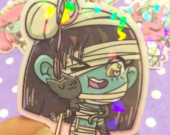 Holographic Spooky Mummy and Kitty Cat Sticker