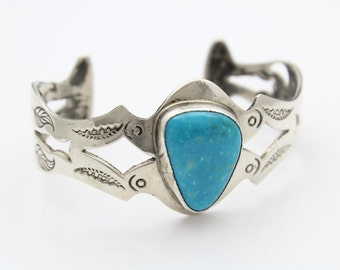 Vintage Sterling Silver and Turquoise Navajo Punched Statement Cuff Bracelet. [5589]