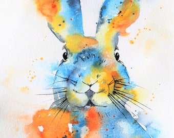 Original Watercolor Spring Bunny, Bunny Painting, Spring Painting, Happy Easter, Spring Decor