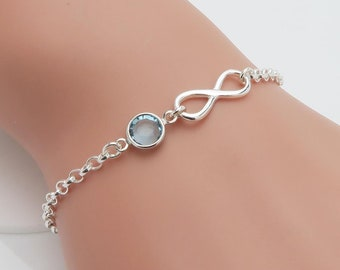 Birthstone Infinity Bracelet, personalised silver bracelet, gift for her, bridesmaids gift