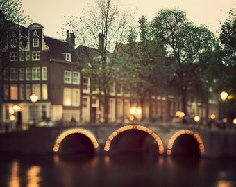 Amsterdam Art Print, Bridge and Lights, Dreamy Photography, Night, Travel, Neutral Home Decor, Autumn Colors - Night Magic