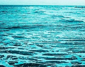 Instant Download Image Photo, Endless Deep Ocean at Twilight, Square Photo, Aqua Blue Teal