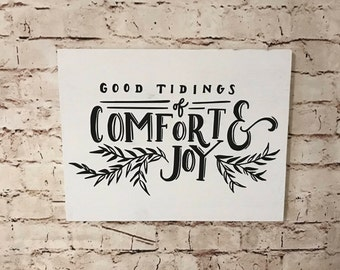 Good Tidings of Comfort & Joy  - Handpainted Sign