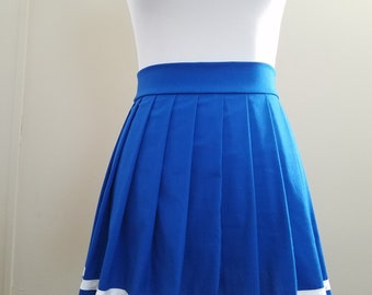 Knife Pleat Skirt with Black or White Stripe - Skirt Available in Any Color - Any Size from Petite to Plus Size - Anime School Uniform Skirt